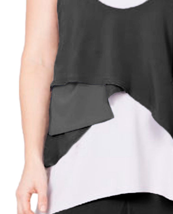 Sympli 1010 Crop Smock Pocket Charcoal