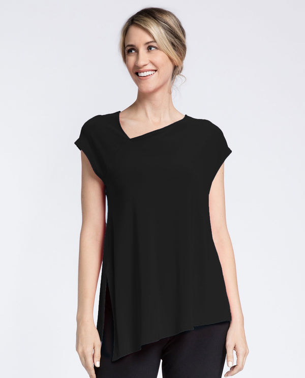 Sympli 22161 Slant Top Cap Sleeves black