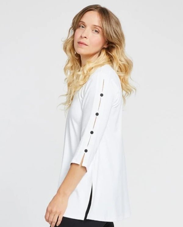 Sympli 23152Z-2 Icon Tunic with Black Buttons White