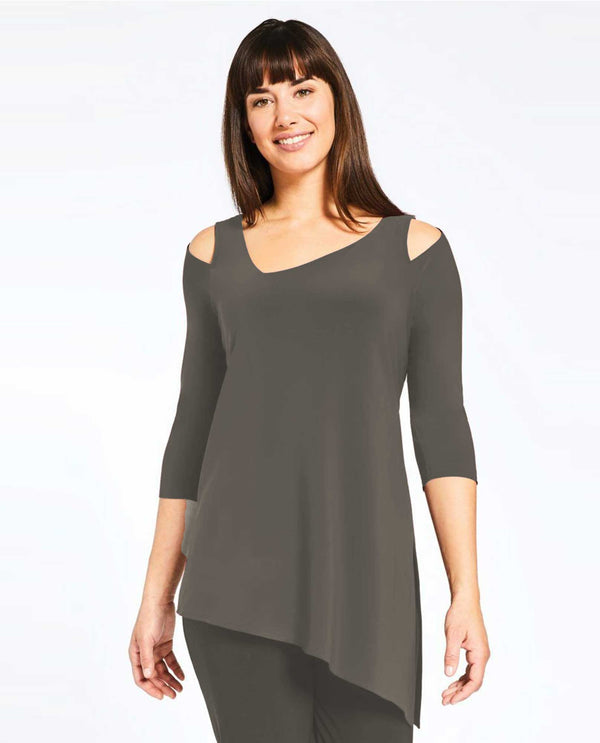2344G-2 mushroom Sympli Womens Focus Tunic 3/4 Sleeve with cold shoulder plus size top