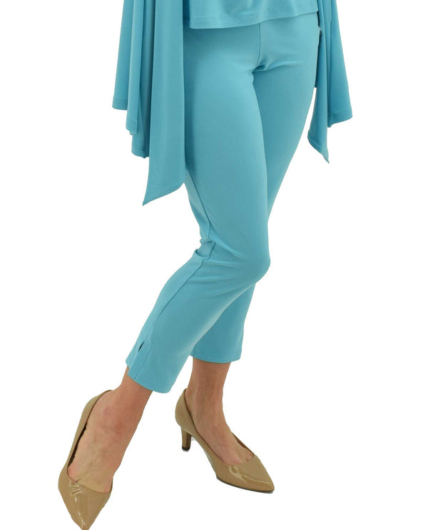 27182  Azure Sympli Twiggy Pant hits just above the ankle with side slits and elastic waist