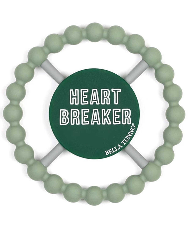 Bella Tunno TE82 Heart Breaker Teether green baby teething ring with saying