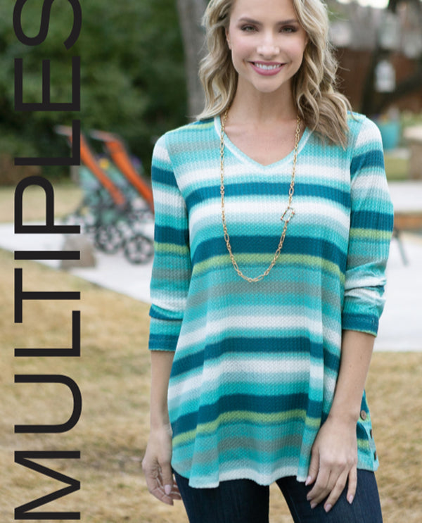 Multiples M30502TM Ombre Stripe Thermal Knit
