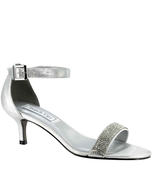 Touch Ups Isadora Shimmer Shoes silver sparkling sandals with ankle strap