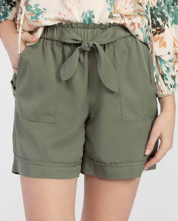 Tribal 3713O-2934 Cactus Pull-On Tie Front Short Cactus