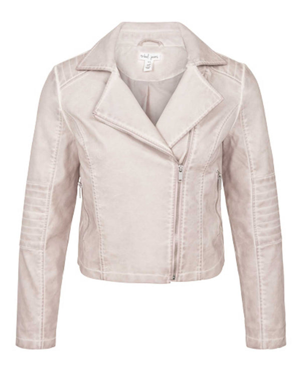 Tribal 6367O-1406 Cropped Biker Jacket blush pink moto jacket with zippers