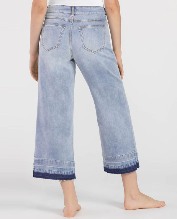 Tribal Apparel 6396O-4040 Wide Leg Culotte Jeans Blue