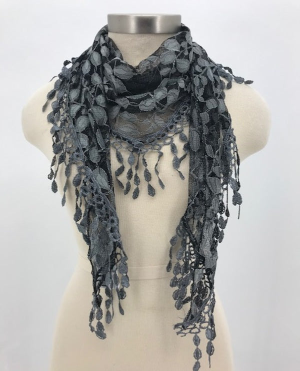 Grey Two Tone Lace Scarf 1849