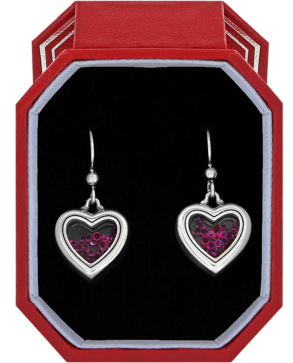 Brighton JD4461 Pure Love French Wire Earrings Gift Box silver hot pink heart earrings