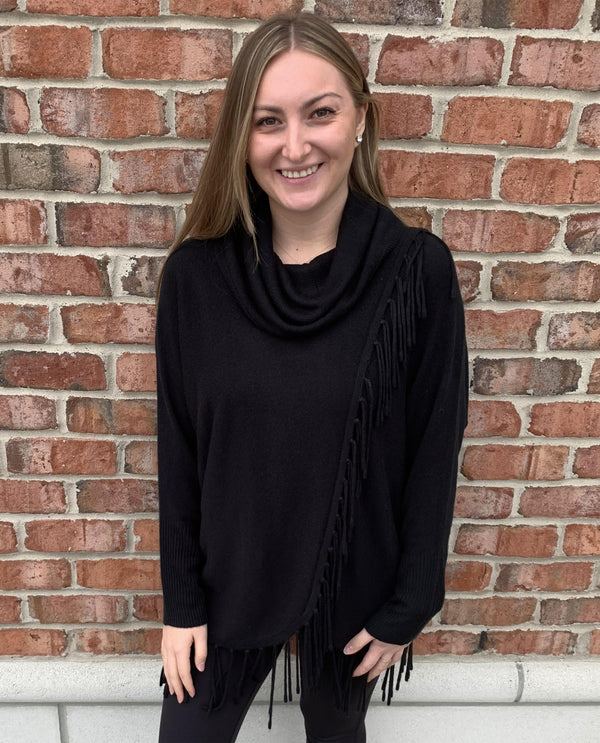 Cowl Fringe Sweater black