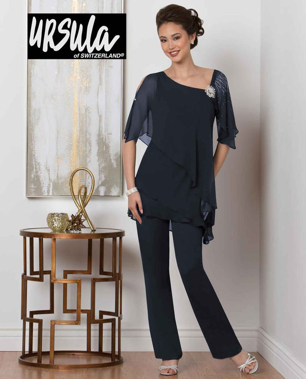 Ursula 11436 Tiered Tunic Pant Set charcoal navy mother of the bride pant suit set