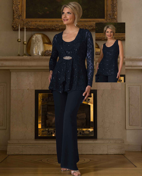 Ursula 13239 Lace Pant Set navy lace and sequin mother of the bride pant suit set