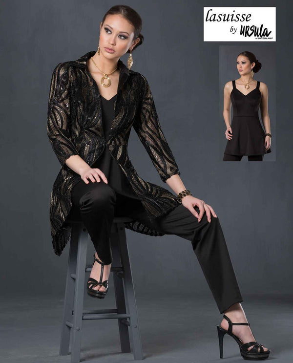 Ursula 16067 3 piece pant set black/gold mother of the bride pant suit