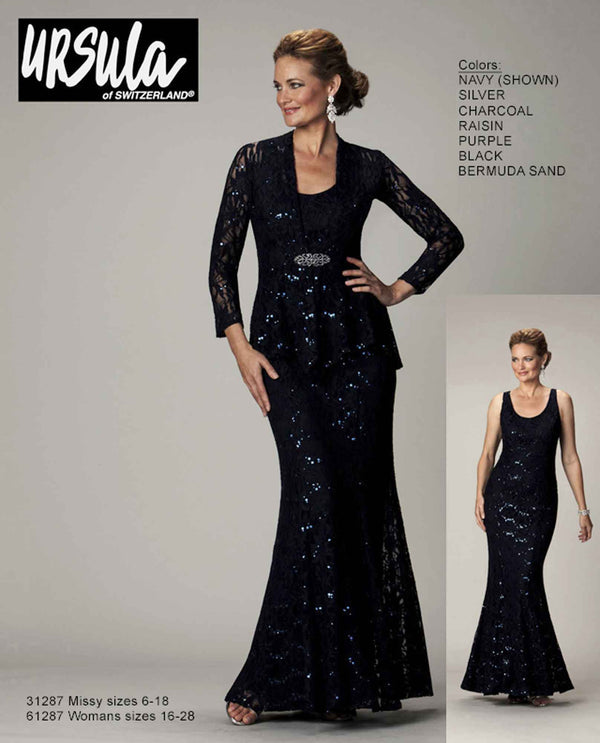 Ursula 31287 Lace Jacket & Dress navy sparkling mother of the bride dress with lace jacket