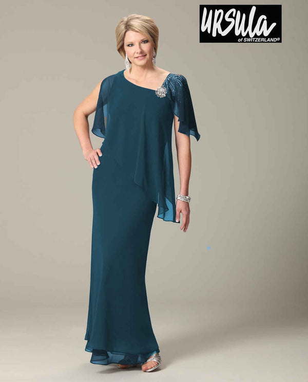 Ursula 33191 Jewel Caplet Dress teal sheer one shoulder mother of the bride long dress