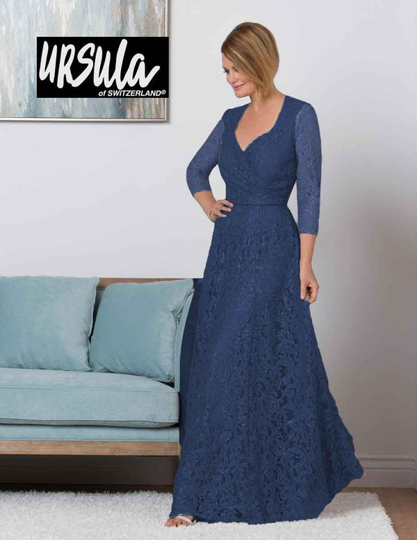 Ursula 31435 3/4 Sleeve Lace Gown 3/4 sleeve sapphire blue lace mother of the bride gown