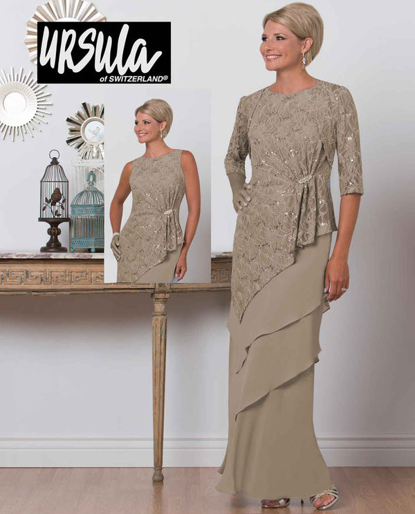 Ursula 31471 Tiered Chiffon Lace sand tan lace mother of the bride dress with 3/4 sleeves