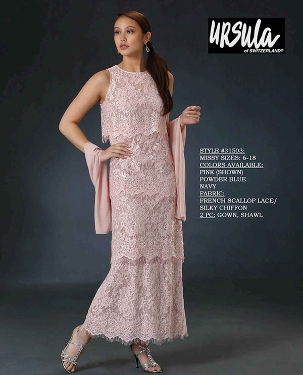 Ursula 31503 High Neck Lace Dress pink lace sleeveless mother of the bride dress made of lace