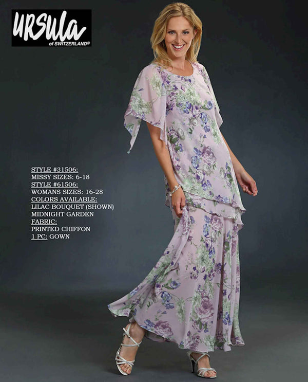 Ursula 31506 floral layered chiffon dress lilac light purple butterfly sleeve long dress