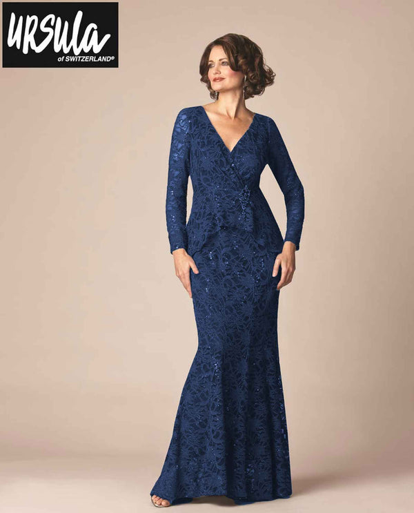 Ursula 33141 Lace Gown With Brooch sapphire blue lace mother of the bride gown with long sleeves