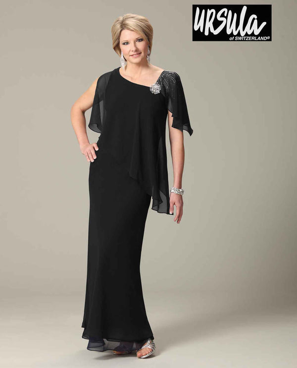 Ursula 33191 Jewel Caplet Dress black sheer one shoulder mother of the bride long dress