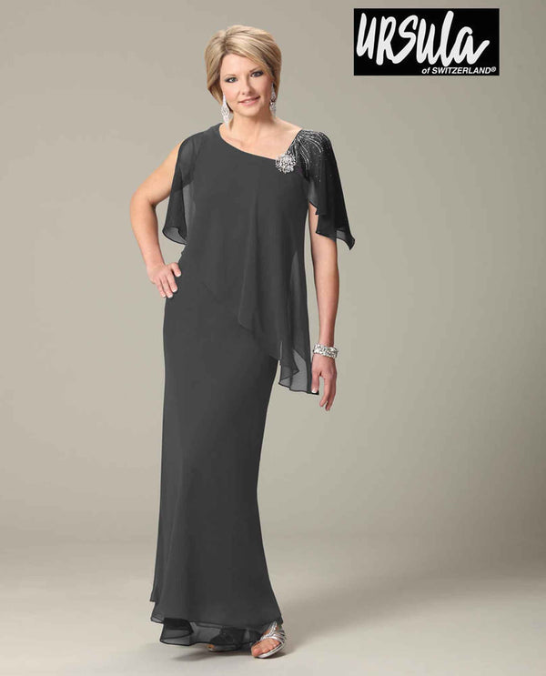 Ursula 63191 Womens Jewel Capelet Dress charcoal plus size mother of the bride dress