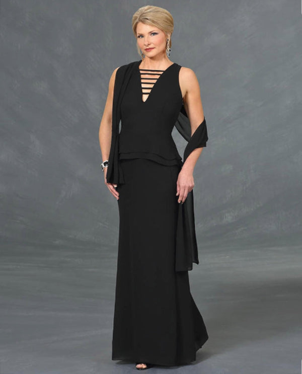 Ursula 33306 Crepe Dress With Shawl black mother of the bride dress with matching shawl
