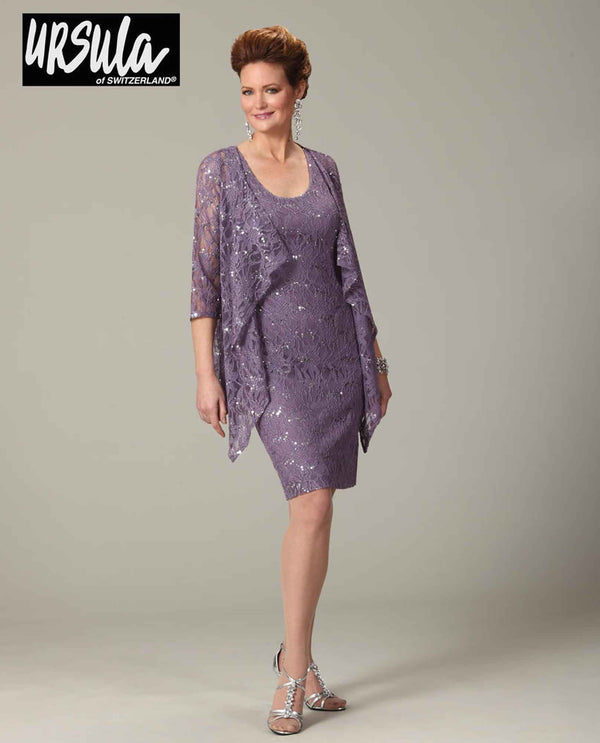 Ursula 41328 Womens Short Lace Dress Set orchid purple plus size short mother of the bride dress