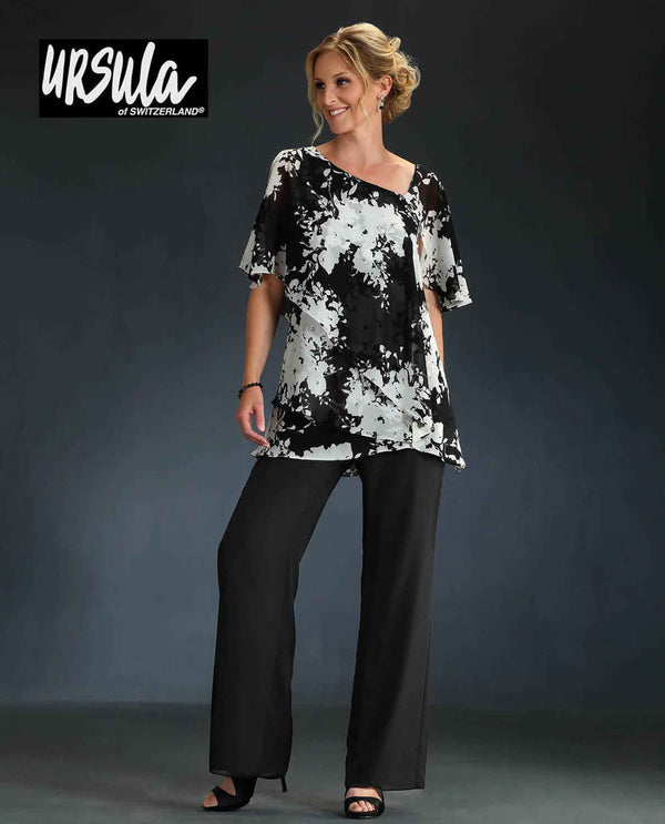 Ursula 41508 womens print top pantsuit black/  white pantsuits for mother of the bride