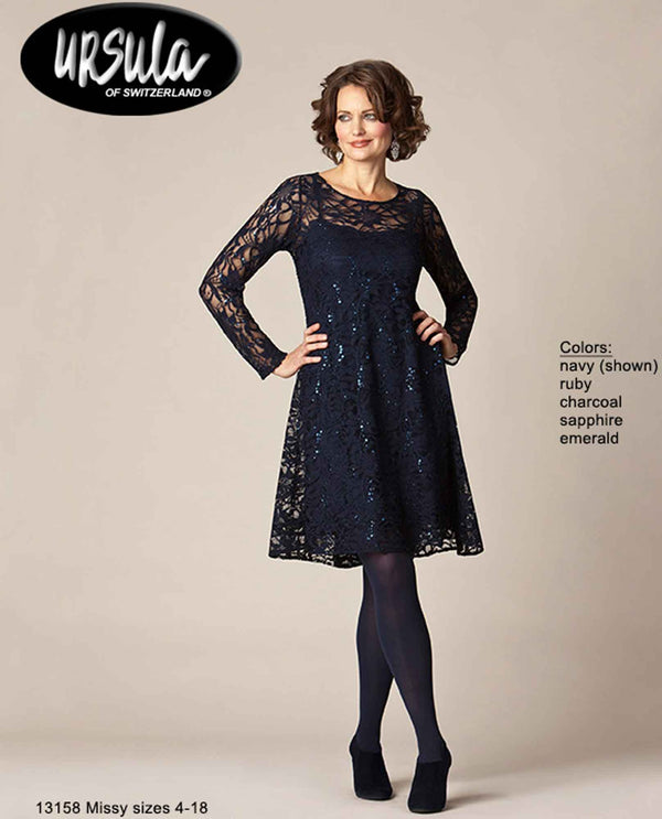 Ursula 43158 Women's Lace Dress navy sequin short dress with long lace sleeves