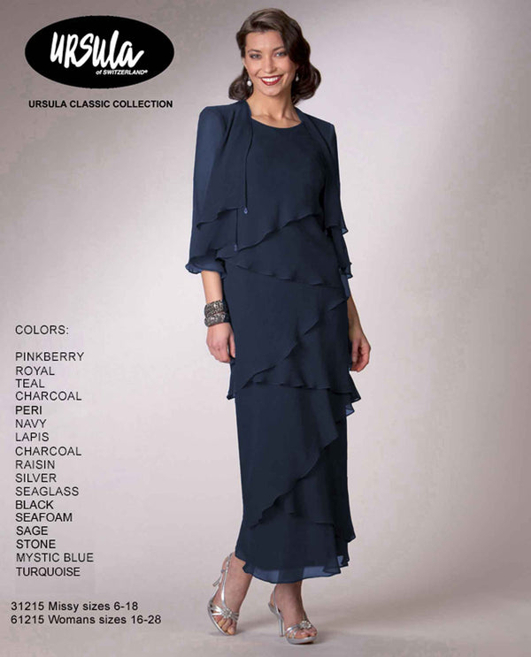 Ursula 31215 Tiered Dress With Jacket navy long mother of the bride dress with jacket