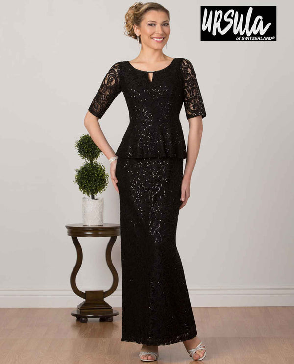 Ursula 63276 Womens Lace Chiffon Dress black sequin lace gown for mother of the bride