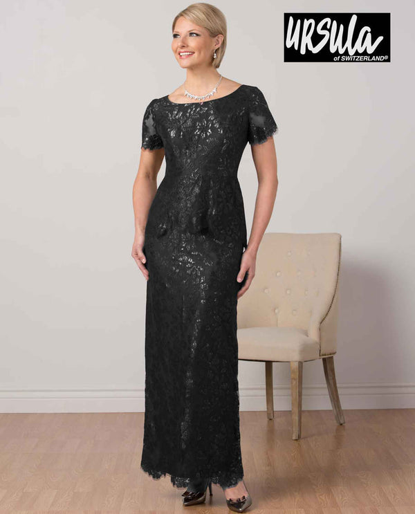 Ursula 63291 Womens Short Sleeve Lace Gown charcoal sequin lace gown