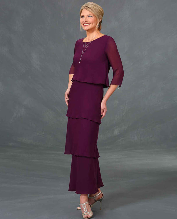 Ursula 63323 Plus Size Tiered Chiffon Dress raisin purple plus size mother of the bride dress