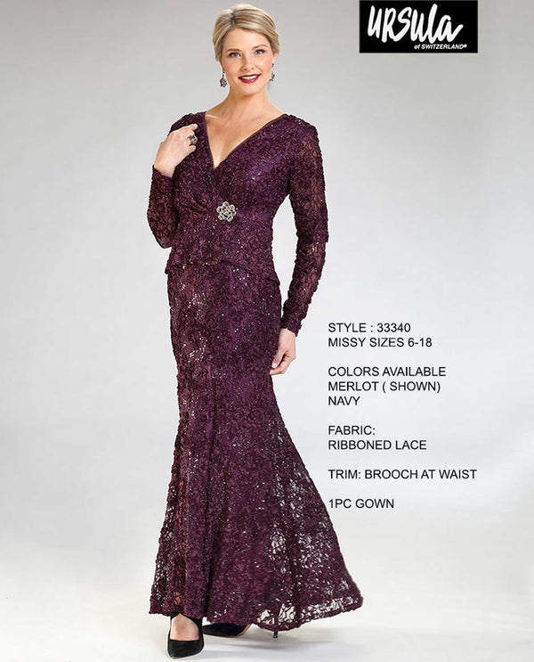 Ursula of Switzerland 33340 Soutache Lace Fit & Flare Dress Merlot