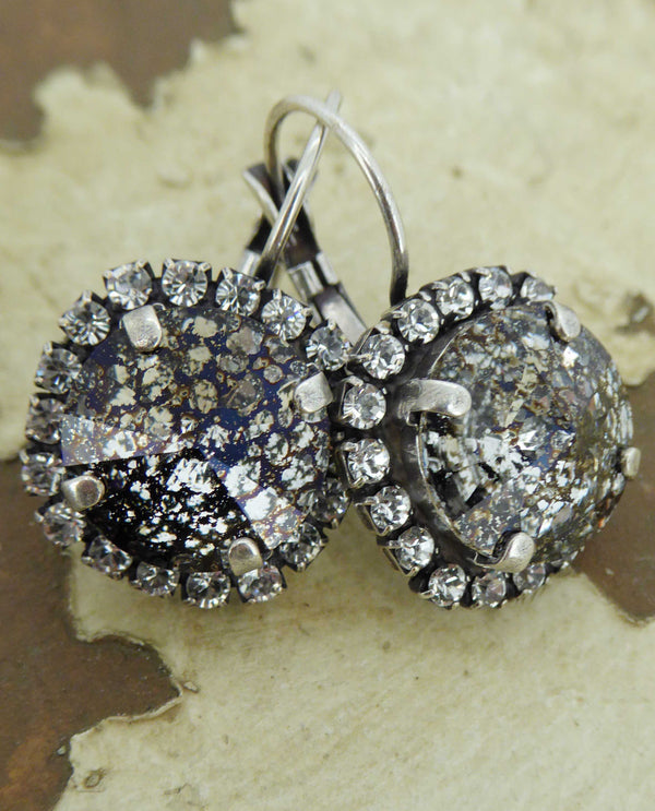 Black Patina Vickie Halo Earrings By Rachel Marie Designs with sparkling Swarovski crystal