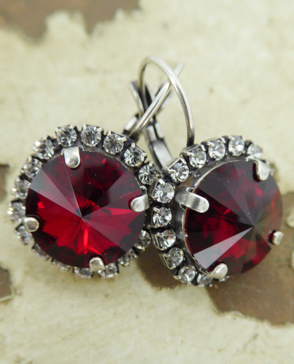 Siam red Vickie Halo Earrings By Rachel Marie Designs with sparkling Swarovski crystal