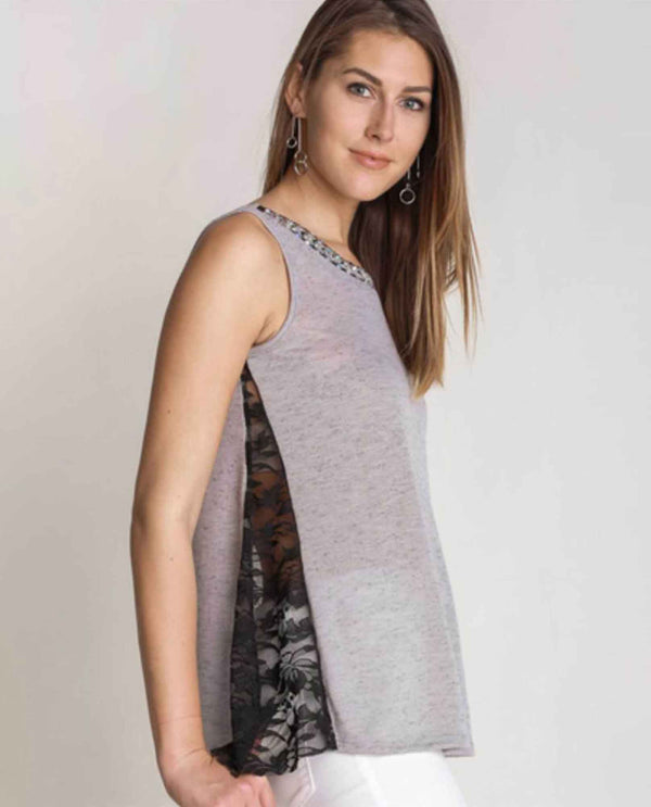 Grey Vocal 15665T Tank Top With Trim