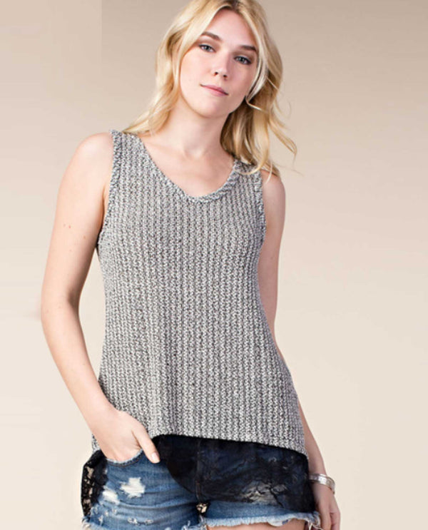 Vocal 17111T Lace Hem Tank With Stones Black Silver
