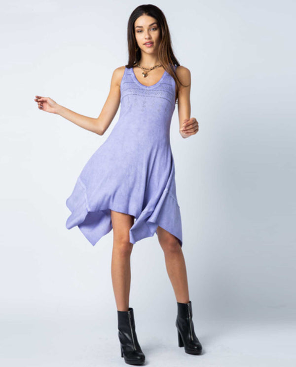 Lavender Vocal 17778D Sleeveless Purple Dress with rhinestones and asymmetrical hem