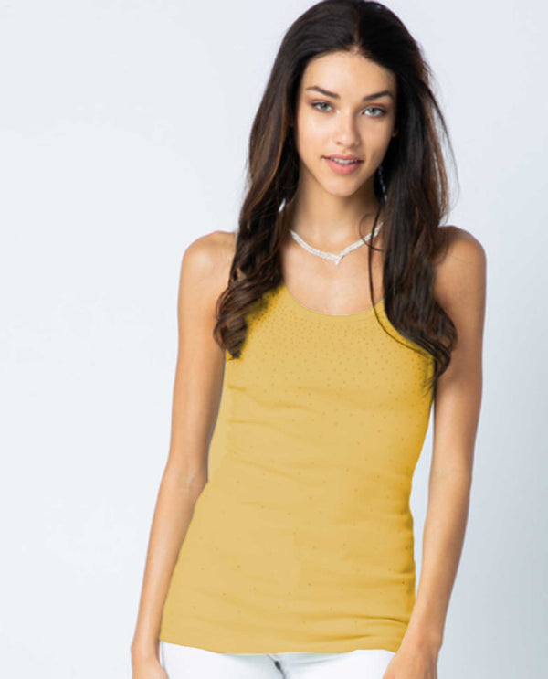 Vocal 17900T Sparkle Tank yellow tank top with stones