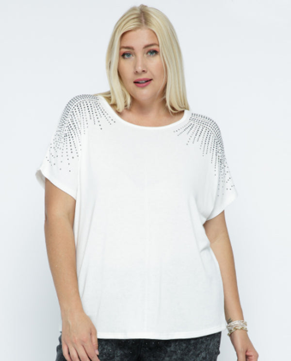 Vocal 18552SX Stones On Shoulder Short Sleeve Off White