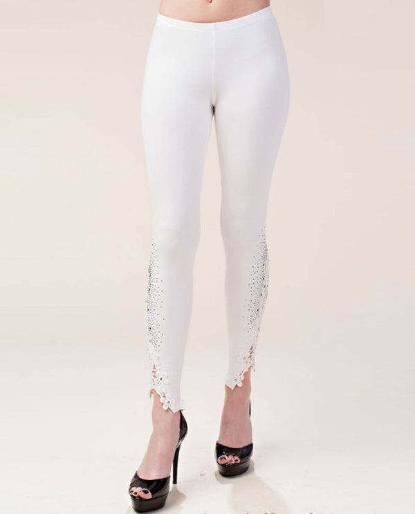 Vocal IM0830P Lace and Stone Trim Leggings Off White