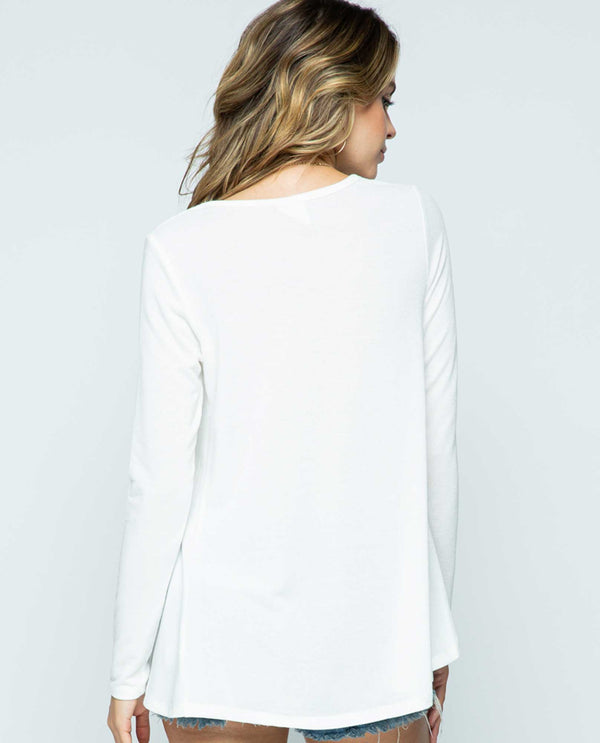 Vocal IM1419L Off White Long Sleeve Basic Top with Stones