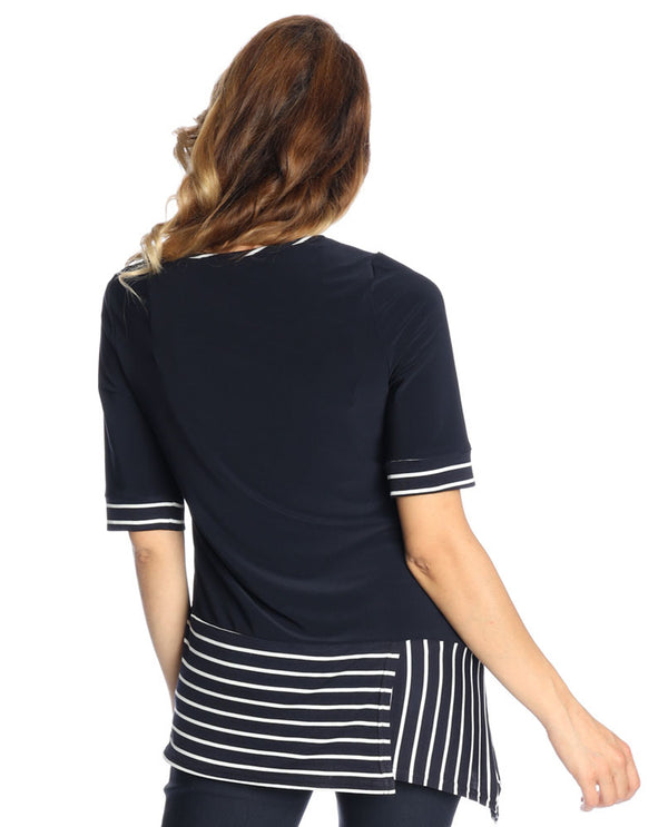 Michael Tyler 2926 Stripe Hem Short Sleeve Top Navy