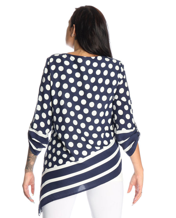 Michael Tyler 2945 Dot Asymmetric Top Navy Ivory