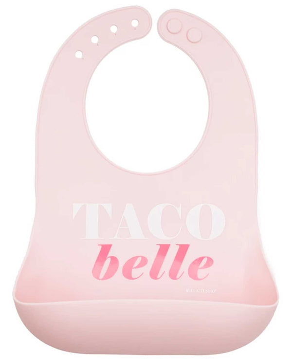 Bella Tunno WB110 Taco Belle Wonder Bib pink silicone baby bib with snack pouch