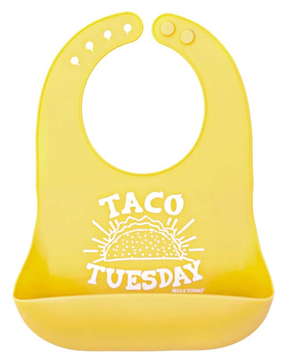 Bella Tunno WB75 Taco Tuesday Wonder Bib yellow silicone baby bib with snack pouch