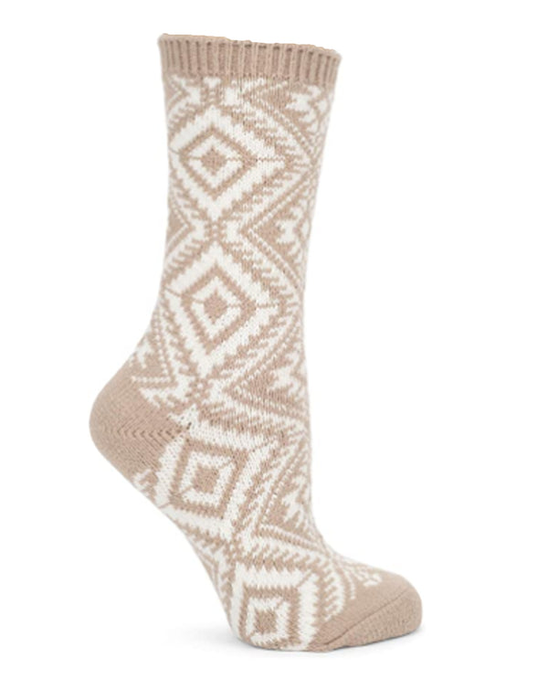 World's Softest Socks Taupe Aztec Crew