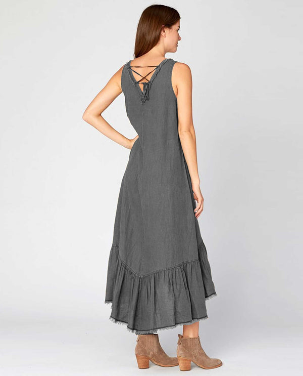 XCVI Wearables 3341 Grey Sleeveless V-Neck Dress